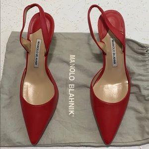 Manolo Blahnik red calf leather slingback pumps